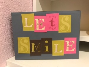 Let's Smile Box Sign Desk Decor - sign box standing on desk