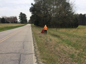 Get Outside and Exercise - picking up litter