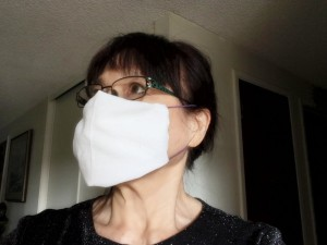 Washable No-Sew Mask - woman wearing the mask