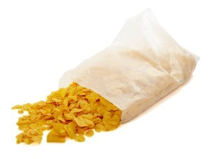 A bag of cereal removed from its box.