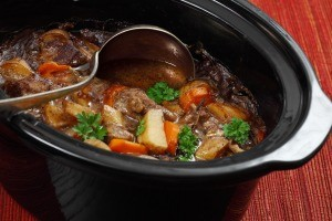 A crockpot full of beef stew.