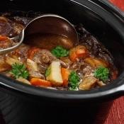 A crockpot full of beef stew.
