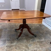 Identifying an Antique or Vintage Table - open table that has a latch on the underside to fold the top down