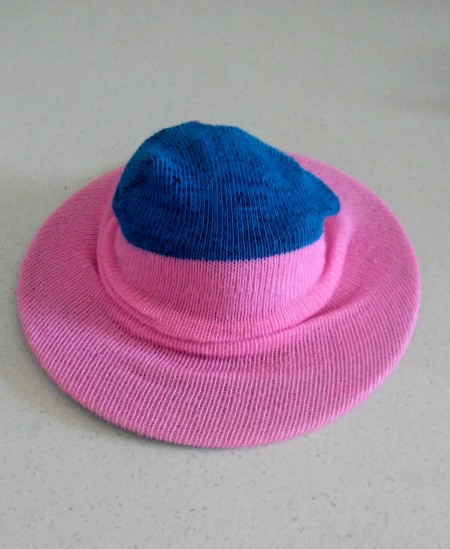 Upcycled Mini Easter Hat - wrapping sock around the strainer, view of under convex side