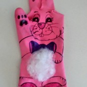 Easter Bunny Puppet from a Dishwashing Glove - other paw and back paws drawn in place - it is done