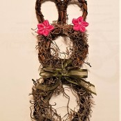 Mini Wreath Bunny - cute bunny wreath with flowers at base of ears and bow around its neck