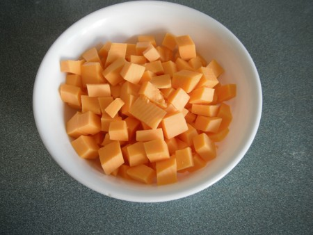 bowl of cubed Cheese
