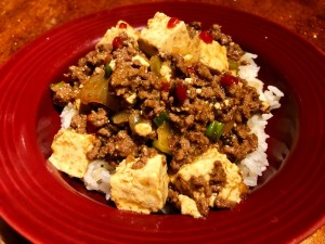 plate of Spicy Ginger Beef with Tofu