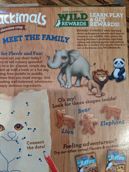Making Animal Plant Pal Stakes - animal images on the back of a cereal box