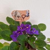 Making Animal Plant Pal Stakes - stake in the leaves of an African violet