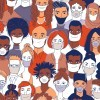 An illustration of many different people wearing face masks.