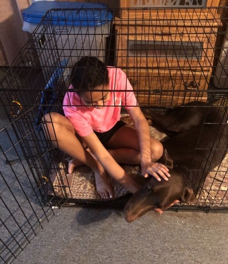 Kylie and Kaiser - girl in crate with dog