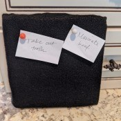 Inexpensive Felt Message Board - felt board with notes on countertop