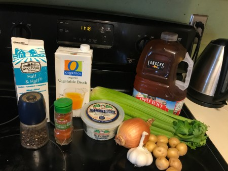 The ingredients for creamy blue cheese celery soup.