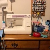 Janome Sewing Machine Making a Buzzing Sound - sewing machine on a desk top