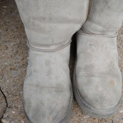 Cleaning Fat Stains Off of Waterproof Suede Boots - light gray suede boots