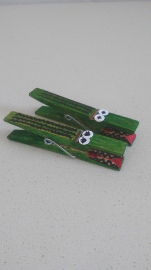 Alligator Clothespins - two green alligator clothespins