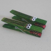 Alligator Clothespins - two green alligator clothespins