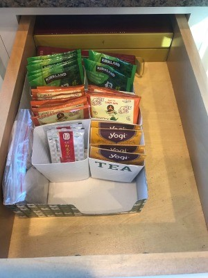 DIY Cup Cup Sleeve Tea Organizer - reorganized drawer