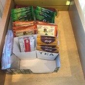 DIY Cup Cup Sleeve Tea Organizer - reorganized drawer