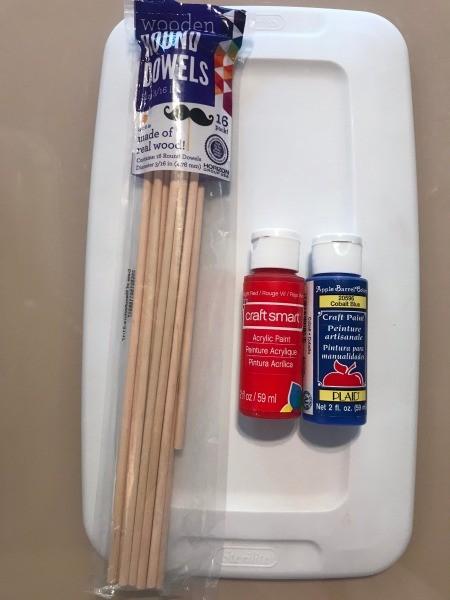 DIY Foosball Game Shoebox - dowels and paint