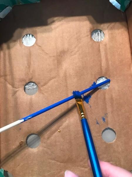 DIY Foosball Game Shoebox - painting a dowel blue