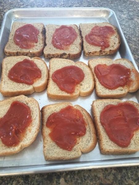 tomato soup spread on sandwiches
