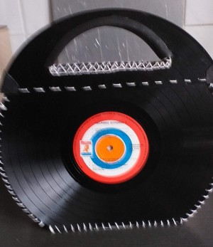 A bag made from two vinyl records
