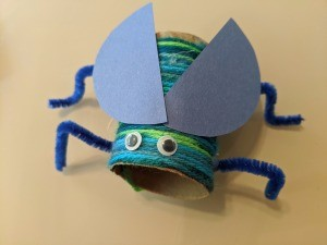 Recycled Paper Tube Bug Toy - looking down on finished bug toy