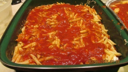 A pan of lasagna.