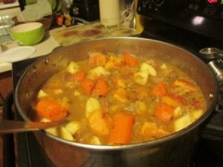 A pot of beef stew.