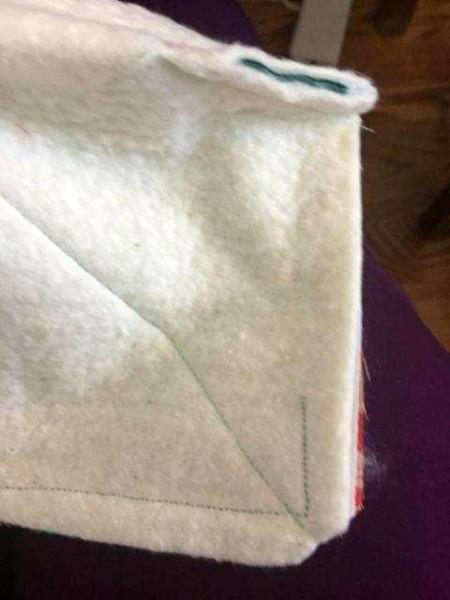 Fabric Bowl Hot Pad - dart in one corner