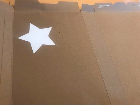 Recycled Paper Memorial Day Wreath - white star template on cardboard box inside