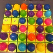 Plastic Egg Match-Up Game - finished game board with first match exposed