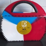 Bag Made from Coloured Vinyl Records - bag/purse made from three vinyl records, in red, white, and blue