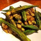 Curried Okra and Potatoes on plate