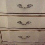 Desk Drawer Stuck Closed - three drawers on a white and gold trim desk