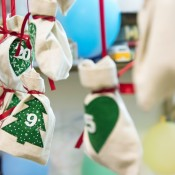 Advent Calendar made from cotton bags with trees.