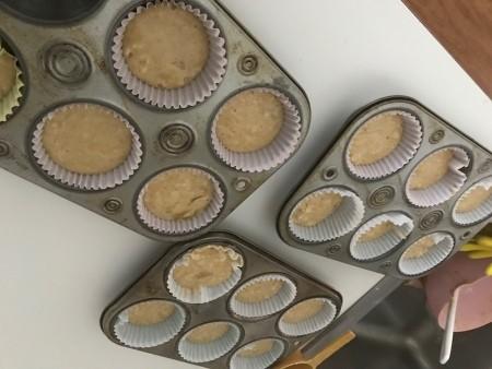 filling Muffins tins