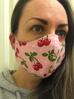 Non-Pleated Face Mask - women's over the ear mask made with pink fabric with cherry motif