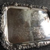 Identifying an Old English Silver or Silverplate Tray - ornate serving tray