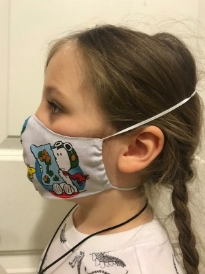 Non-Pleated Face Mask - child's mask from the side