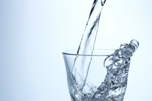 A glass of clear water.