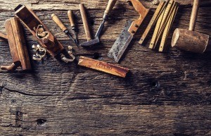 A collection of antique tools.