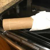 Cleaning In Tough Kitchen Areas - paper towel wrapped tube