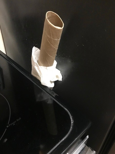 A paper towel tube with a paper towel at the end.