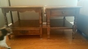 Value of Conant Ball End Tables - two different end tables and streaking cat