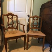 Age and Value of Older Bassett Chairs - two chairs one has arms, upholstered seats
