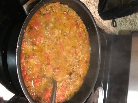 pepper stuffing in pan