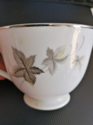 Value of Noritake China - white tea cup with silver edge and gray leaves